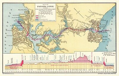 1907 Antique PANAMA Canal Map Maritime Vintage Map And History 5092