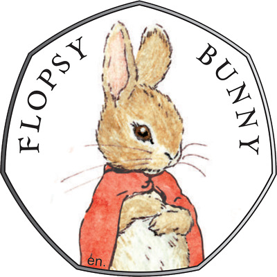 2018 Beatrix Potter Flopsy Bunny Silver Proof 0.9250 Colour Genuine 50p Coin