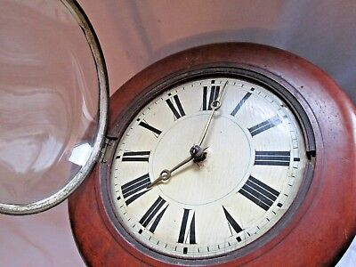 Antique OLD POSTMANS WALL CLOCK BRASS MOVEMENT CASE ,CHAINS DIAL SPARES REPAIR