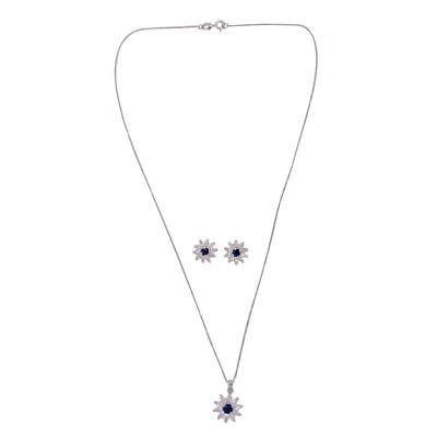 Simulated Tanzanite, Simulated Diamond Floral Pendant , Stud Earrings in Silver