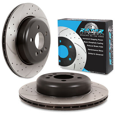 REAR DRILLED GROOVED 330mm BRAKE DISCS FOR BMW 5 SERIES F10 518d 520d 525d 530d