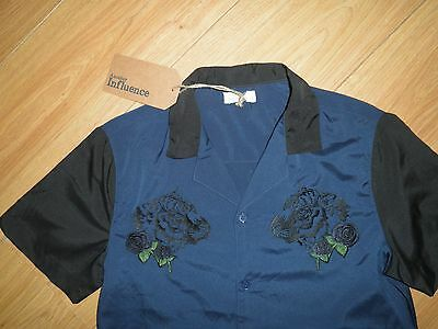 Rockabilly Bowling Shirt Western 50s Look Another Influence S Blue/Black