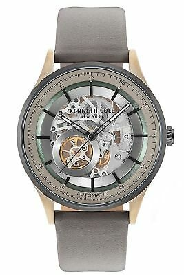 Kenneth Cole Mechanical Automatic Skeleton Grey Leather Mens Watch KC15100004 SD