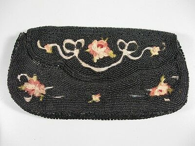 Vintage Beaded Purse Made in France Black with Embroidery