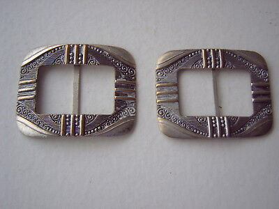 Pair Of Vintage Buckles - Pressed Two-Tone Metal - Could Be For Shoes