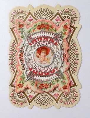 PAPER LACE Antique VALENTINE 1880s Card VICTORIAN 3 Layer EMBOSSED floral GIRL