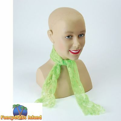 80's RAVE NEON GREEN LACE SCARF Womens Ladies Fancy Dress Costume Accessory