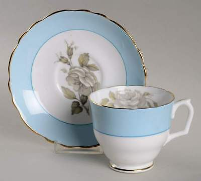 Crown Staffordshire GRAY BLOSSOMS Cup & Saucer 5559827