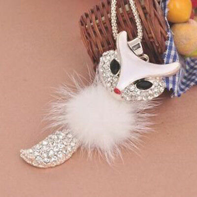 1PC Fashion Crystal Inlaid Fur Fox Pendant Necklace Long Sweater Chain For Women