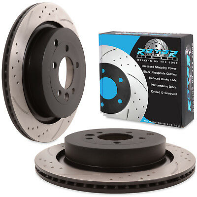 REAR DRILLED GROOVED 350mm BRAKE DISCS FOR RANGE ROVER SPORT 3.6 TD DISCOVERY TD