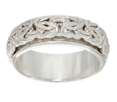 Silver Style Sterling Silver Byzantine Design Center Spinning Ring Size 6 Qvc