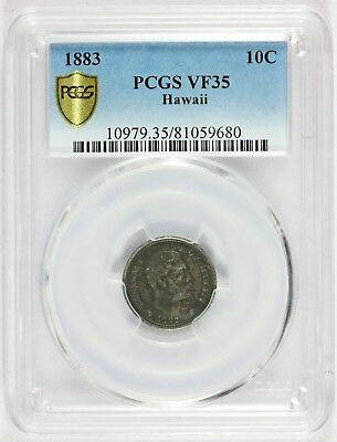 1883 Hawaii 10 Cents One Dime Silver Coin - PCGS VF 35 - KM# 3