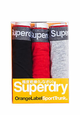 Superdry Three Pack Boxer Shorts Men Sports Trunk Triple Black Racing Red Grey