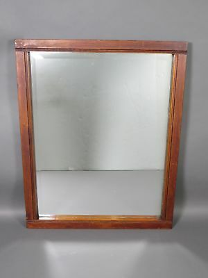 "Vintage Large 31"" x 25"" Beveled Glass Wall Mirror Wooden Frame Shabby Chic"