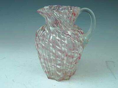 Antique Northwood Ribbed Pillar Pink White Spatter Glass Water Pitcher