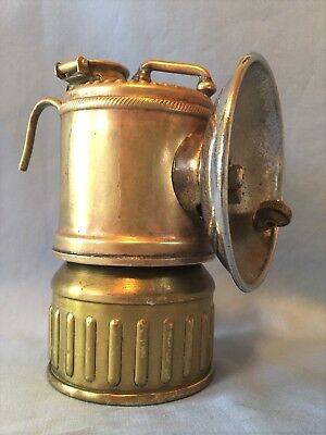 Vertical JUSTRITE Miners Carbide Cap Lamp, c.1919, Vintage Mining Light, caving