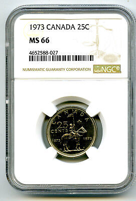 1873-1973 Canada 25 Cent Ngc Ms66 Small Bust Rcmp Quarter Uncirculated Top Pop
