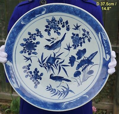 FINE! Huge Antique Chinese Porcelain Blue and White Magpie Plate 18th/19th C