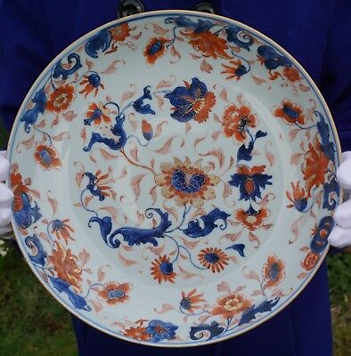 LARGE Antique 18thC Chinese Porcelain Famille Rose Blue and White Iron Red Plate