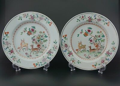 FINE! PAIR Antique Chinese Famille Rose Gilt Deer Plate Charger QIANLONG 18th C