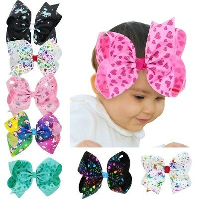 8 Inch Large Unicorn Girls Baby Hair Bows Grosgrain Ribbon Knot Large With Clip