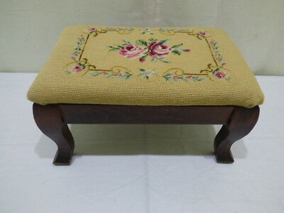 Vintage Wood Foot Stool Needlepoint Fabric Tapestry Gold With Pink Green Flower