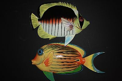 (2) 12 Inch Realistic Tropical Fish Decor, Tropical Fish Wall Hanging Art,f46,67
