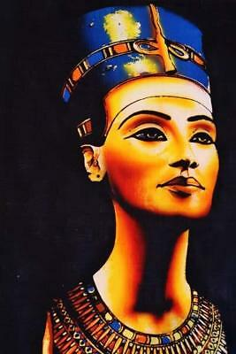 XXXL Unique Handmade Papyrus Egyptian Queen Nefertiti Mask Painting_37x25 Inches