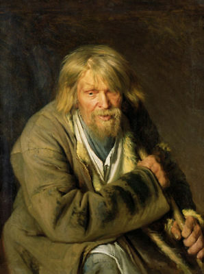 Handmade Oil Painting repro Ivan Nikolaevich Kramskoi Old Man with a Crutch