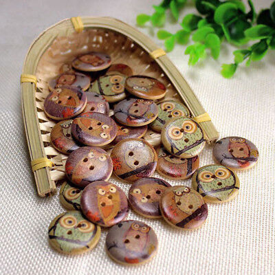 Wood Sewing Buttons Coat Owl Pattern Carved Sewing Buttons Fastener Mixed 50Pcs