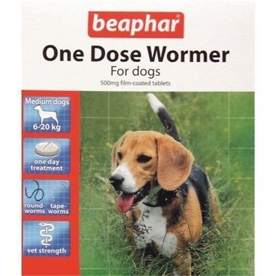 Beaphar Dogs Upto 20kg One Dose Wormer 2 Tablets One Dose - Medium Treatment