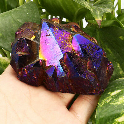 Purple Titanium Coated Drusy Quartz Geode Crystal Cluster Home Decor Display NEW