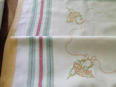 Lovely Vintage Tablecloth Striped Edges and Hand Embroidered Baskets of Daisies