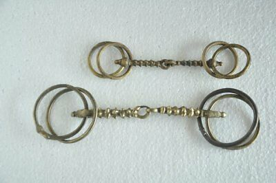 2 Pc Old Brass Spikes Handcrafted Rind Design Horse Bridle / Bit , Rich Patina