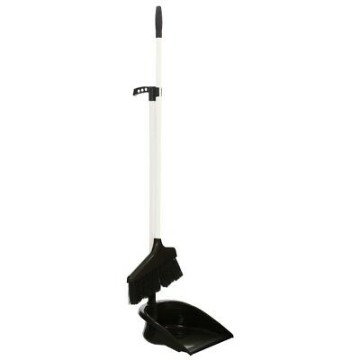 Black Dustpan And Brush Set Long Handle Broom Kitchen Utility Cleaning Sweeping