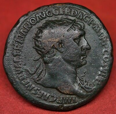 Scarce Brass Dupondius Of Trajan: Trophy Of Arms. Rome, Ad 107. Ric: 586. Vf+