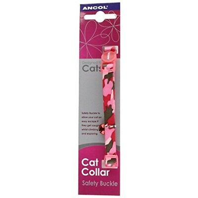 Ancol Camouflage Cat Collar With Safety Buckle Pink - Collars Kitten Bell Blue