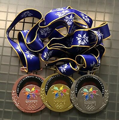 Set of (3) 1998 Nagano Olympic Souvenir Medals w/ Gold Silver & Bronze
