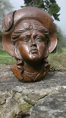 SUPERB 19thc RELIEF OAK CARVED HEAD OF A FEMALE WEARING HAT WITH FEATHER (2)
