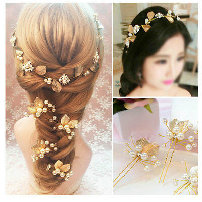 2PCS Wedding Bridal Pearl Flower Crystal Rhinestone Bridesmaid Hair Clip Pins US