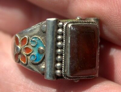 Antique Chinese Carved Carnelian Stone & Enameled Silver Ring Size 7 Adjustable