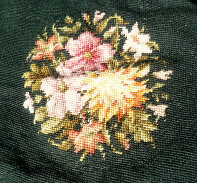 ANTIQUE VTG Shabby Chic Needlepoint LARGE FLORAL Pillow Chair Cover 20 x 18""