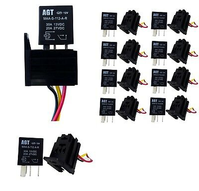 CAR 30A 12V SPST Micro Relay Kit For Electric Fan Fuel Pump Light Horn 4Pin  10x