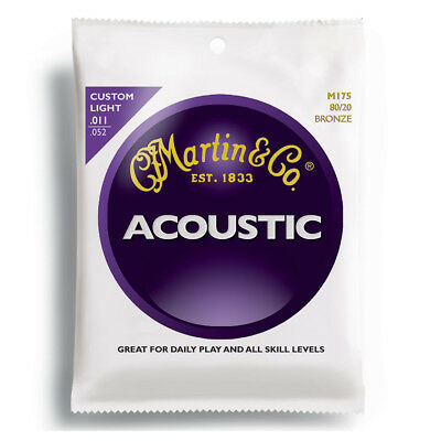 Martin M175 80/20 Bronze Custom Light Acoustic Guitar Strings .011-.052