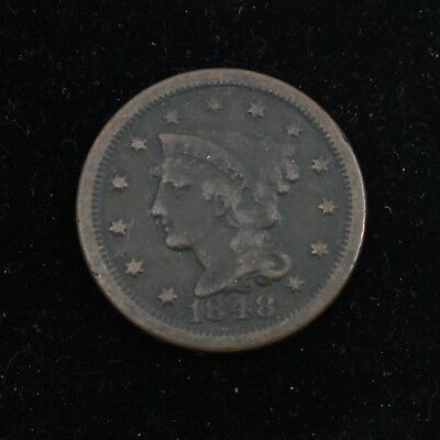 1848 Braided Hair Large Cent 1C US Coin