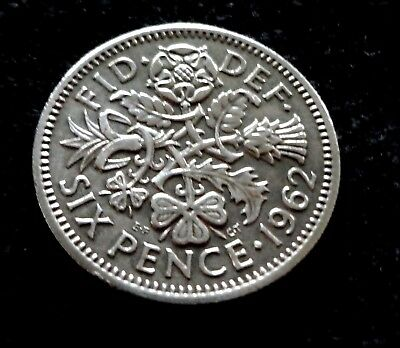 Great Britain 1962  Lucky Six Pence 6 Pence Coin Wedding Coin Good Luck Coins