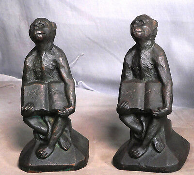 Scopes Monkey Trial Bronze cast Iron Howe Foundry Bookends Darwin Evolution APES