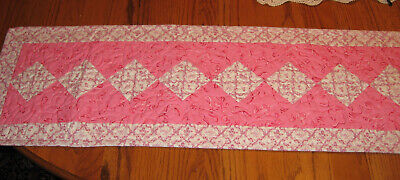 NEW Custom Quilt Table Runner LONGABERGER Pink Ribbon Fabric BREAST CANCER Aware