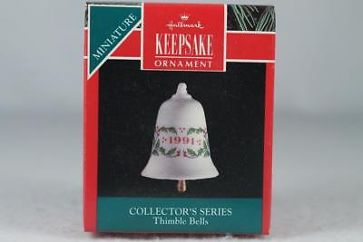 Hallmark '1991 Thimble Bells' 2nd In The Series Miniature Ornament New In Box!