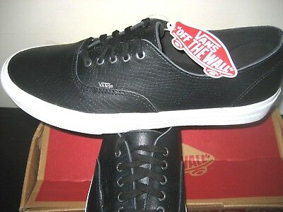 fef4c274a6caa7 Vans Authentic Decon Mens Snake Leather Black Blanc Skate Boat Shoes Size  11.5